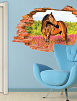 Animals Horse Wall Decals Botanical / 3D Wall Stickers 3D Wall Stickers,PVC 60*90CM