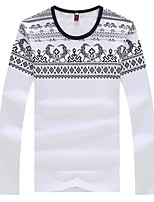 Men's Long Sleeve T-Shirt,Cotton / Polyester Casual Print