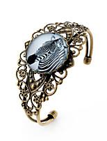 Lureme® Vintage Jewelry Time Gem Series Zebra Antique Bronze Hollow Flower Open Bangle Bracelet for Women