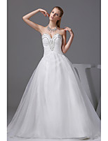 A-line Wedding Dress-Ivory Chapel Train Sweetheart Organza / Satin
