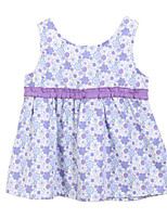 Girl's Orange / Purple Dress,Floral Cotton Summer