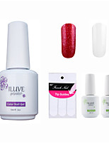 ILuve Franch Gel Nail Polish With Top And Base Coat,Pack Of 4 With Sticker,Long Lasting Soak Off UV Led Gel Varnish #09