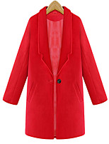 Women's Solid Red / Gray Pea Coats,Simple / Street chic Long Sleeve Wool