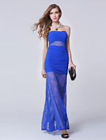 Formal Evening Dress-Royal Blue Sheath/Column Sweetheart Ankle-length Lace / Tulle
