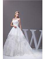 A-line Wedding Dress-Ivory Court Train Sweetheart Organza / Satin