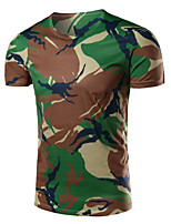 Men's Fashion Camouflage Round Collar Slim Fit Short Sleeve T-Shirt, Cotton /Polyester/Print