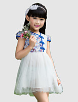 Girl's Blue Dress,Floral Polyester Summer