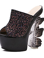 Women's Shoes Synthetic Wedge Heel Peep Toe  Sandals Dress Black / Pink / White