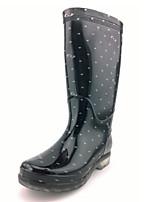 Chaussures Femme-Extérieure-Noir-Talon Plat-Bottes de Pluie-Plates / Bottes-Silicone