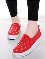 Women's Shoes Mickey Canvas Platform Comfort / Round Toe Loafers Outdoor / Casual Black / Blue / Red