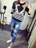Women's Print Black Pullover,Simple Long Sleeve