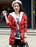 Women's Jacquard Blue / Red / White / Black Pullover,Street chic Long Sleeve