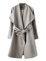 Women's Solid Gray Trench Coat,Simple Long Sleeve Polyester