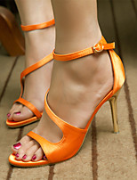 Women's Shoes Silk Stiletto Heel Heels /Sandals Wedding / Office & Career / Party & Evening Black / White / Orange