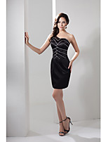 Cocktail Party Dress-Black Sheath/Column One Shoulder Short/Mini Satin