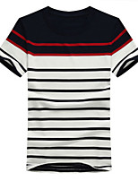 Katoen-Gestreept-Heren-T-shirt-Informeel-Korte mouw