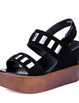 Chaussures Femme-Habillé-Noir-Talon Compensé-Compensées / Bout Ouvert / A Plateau-Sandales-Similicuir