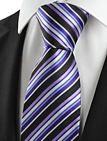 KissTies Men's Striped Purple Blue Black Microfiber Tie Necktie For Wedding Party Holiday With Gift Box