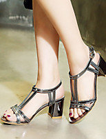 Women's Shoes Customized Materials Chunky Heel T-Strap Sandals Party & Evening / Dress / Casual Purple / Silver / Gray