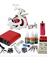 basekey tattoo kit jh551 1 machine met stroomaansluiting grips 3x10 ml inkt