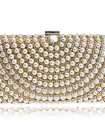 Women Evening Bag PU Polyester All Seasons Wedding Event/Party Formal Minaudiere Rhinestone Pearl Detailing Clasp Lock Silver Black Gold