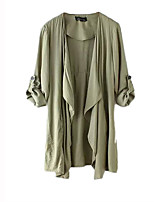 Women's Solid Green Trench Coat,Simple Long Sleeve Cotton