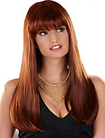 Europe And The United States Women Wig Caps Gold Long Straight Brown Hair Neat Bang Synthetic Wig