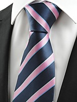 KissTies Men's New Striped Pink Blue Microfiber Tie Necktie For Wedding Party Holiday With Gift Box