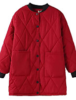 Women's Patchwork Red / Black Padded Coat,Street chic Round Neck Long Sleeve
