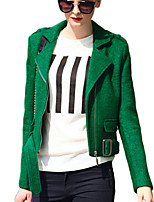 Women's Solid Black / Green Coat,Simple / Street chic Long Sleeve Wool