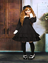 Cotton Black Ruffles Long Sleeves School Lolita Dress  Halloween Party Dresses