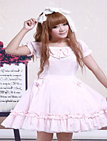 Steampunk®Cotton Pink Lace Short Sleeves Cosplay Lolita Dress OP