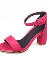 Черный / Серый / Коралловый-Женская обувь-Для офиса / Для праздника-Синтетика-На толстом каблуке-На каблуках / С открытым носком-Сандалии