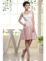 Knee-length Charmeuse Bridesmaid Dress-Blushing Pink / Ivory A-line Scoop