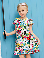 Girl's White Dress,Cartoon Cotton Summer / Spring / Fall