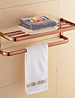Contemporary Rose Gold-Plated Brass Material Bathroom Shelf