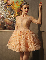 Cocktail Party Dress-Gold Ball Gown Scoop Short/Mini Lace / Satin