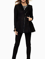 Women's Black Coat,Simple / Street chic Long Sleeve Polyester