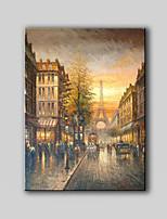 canvas pintados à mão paisagem pintura a óleo da cena da rua da rua de Paris, sem qualquer quadro