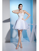 Cocktail Party Dress-White A-line Sweetheart Short/Mini Organza