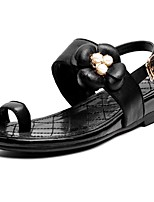 Women's Shoes Cowhide Wedge Heel Wedges / Toe Ring Sandals Party & Evening / Dress / Casual Black / Almond