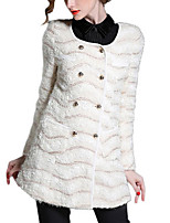 Women's Striped White Pea Coats,Simple Long Sleeve Polyester
