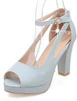 Chaussures Femme-Mariage / Habillé / Décontracté / Soirée & Evénement-Bleu / Rose / Blanc-Gros Talon-Talons / Bout Ouvert-Sandales-