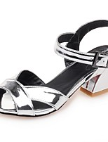 Women's Shoes Chunky Heel Peep Toe / Ankle Strap Sandals Party & Evening / Dress / Casual Blue / Pink / Silver / Bronze