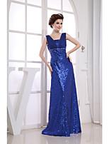 Vestido-Azul Real Festa Formal Tubinho Alças Longo Chiffon / Paetês