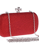 Women Evening Bag Polyester All Seasons Wedding Event/Party Formal Party & Evening Club Oval Clasp Lock Red Silver Black Gold Champagne
