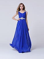 Formal Evening Dress-Royal Blue / White Sheath/Column V-neck Ankle-length Tulle