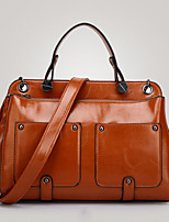 Women PU Shopper Shoulder Bag - Brown / Black