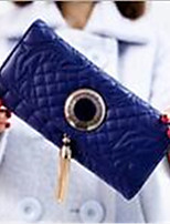 Women PU Tri-fold Wallet-Pink / Blue / Black