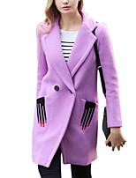 Women's PurpleSimple Long Sleeve Wool